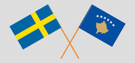 Crossed flags of Kosovo and Sweden