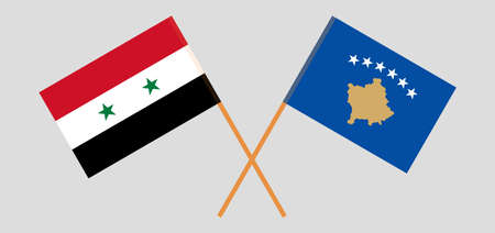 Crossed flags of Kosovo and Syria 矢量图像