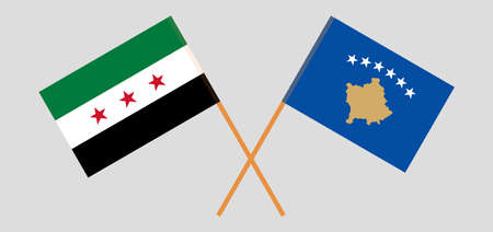 Crossed flags of Kosovo and Interim Government of Syria