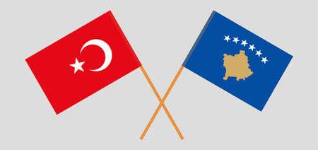 Crossed flags of Kosovo and Turkey 矢量图像