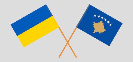 Crossed flags of Kosovo and the Ukraine