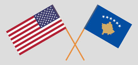 Crossed flags of Kosovo and the USA