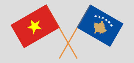 Crossed flags of Kosovo and Vietnam 矢量图像