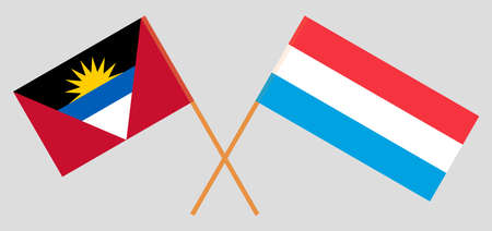 Crossed flags of Antigua and Barbuda and Luxembourg Ilustración de vector