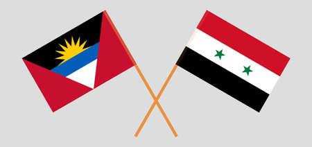 Crossed flags of Syria and Antigua and Barbuda Ilustración de vector