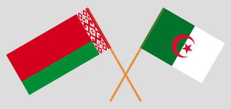Crossed flags of Algeria and Belarus