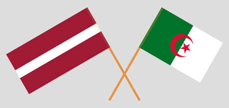 Crossed flags of Algeria and Latvia