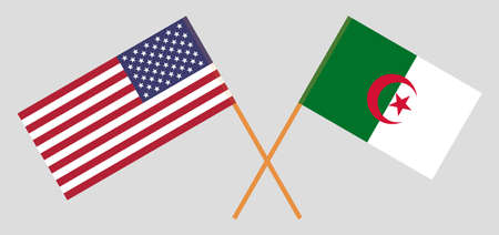 Crossed flags of Algeria and the USA