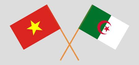 Crossed flags of Algeria and Vietnam