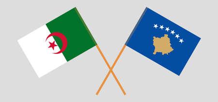 Crossed flags of Algeria and Kosovo
