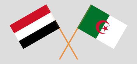 Crossed flags of Algeria and Yemen 向量圖像