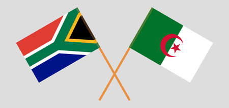 Crossed flags of Algeria and Republic of South Africa
