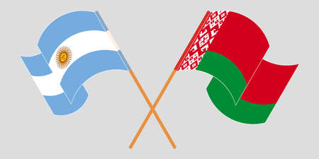 Crossed and waving flags of Belarus and Argentina 向量圖像