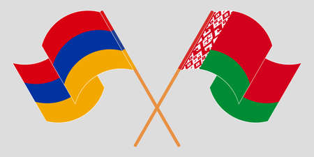 Crossed and waving flags of Belarus and Armenia 向量圖像