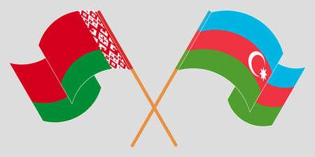 Crossed and waving flags of Belarus and Azerbaijan 向量圖像