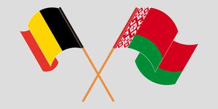 Crossed and waving flags of Belarus and Belgium 向量圖像