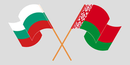 Crossed and waving flags of Belarus and Bulgaria