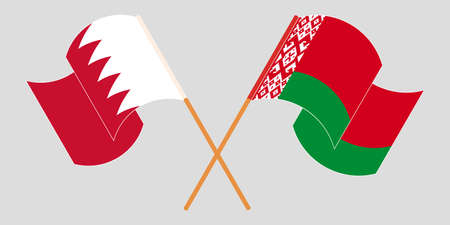 Crossed and waving flags of Belarus and Bahrain