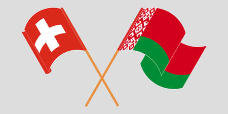 Crossed and waving flags of Belarus and Switzerland 向量圖像