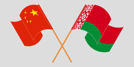 Crossed and waving flags of Belarus and China 向量圖像