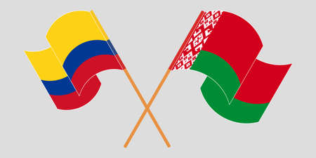 Crossed and waving flags of Belarus and Colombia 向量圖像