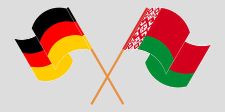 Crossed and waving flags of Belarus and Germany 向量圖像