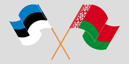 Crossed and waving flags of Belarus and Estonia 向量圖像