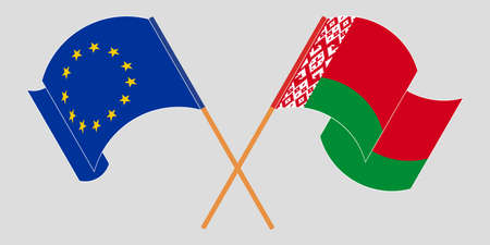 Crossed and waving flags of Belarus and the EU 向量圖像