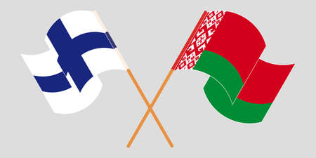 Crossed and waving flags of Belarus and Finland