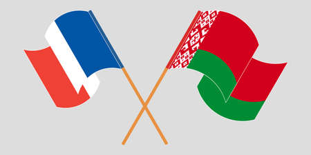 Crossed and waving flags of Belarus and France 向量圖像