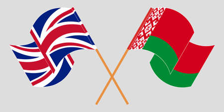 Crossed and waving flags of Belarus and the UK 向量圖像