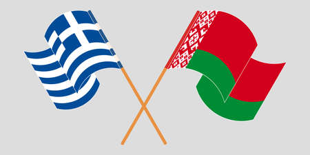 Crossed and waving flags of Belarus and Greece