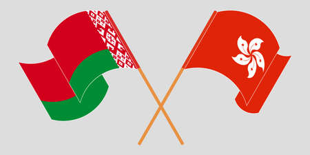 Crossed and waving flags of Belarus and Hong Kong