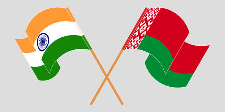 Crossed and waving flags of Belarus and India