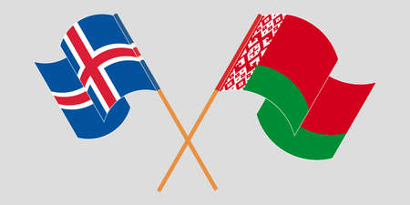 Crossed and waving flags of Belarus and Iceland