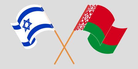 Crossed and waving flags of Belarus and Israel 向量圖像