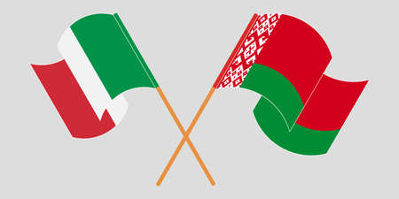 Crossed and waving flags of Belarus and Italy 向量圖像