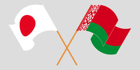 Crossed and waving flags of Belarus and Japan