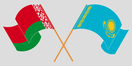 Crossed and waving flags of Belarus and Kazakhstan
