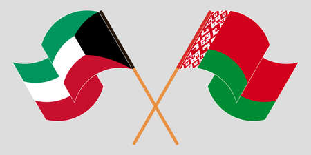 Crossed and waving flags of Belarus and Kuwait 向量圖像