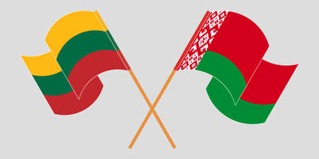Crossed and waving flags of Belarus and Lithuania