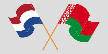 Crossed and waving flags of Belarus and the Netherlands