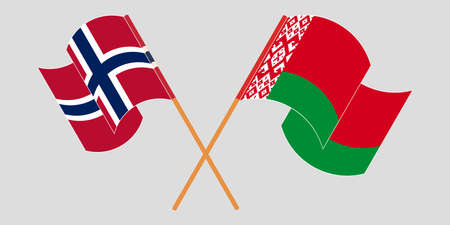 Crossed and waving flags of Belarus and Norway 向量圖像
