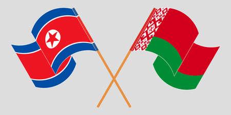 Crossed and waving flags of Belarus and North Korea 向量圖像