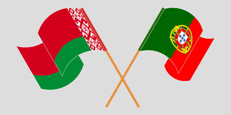 Crossed and waving flags of Belarus and Portugal