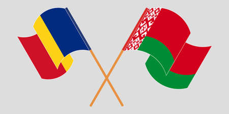Crossed and waving flags of Belarus and Romania