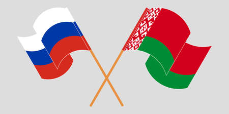 Crossed and waving flags of Belarus and Russia 向量圖像