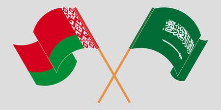 Crossed and waving flags of Belarus and the Kingdom of Saudi Arabia