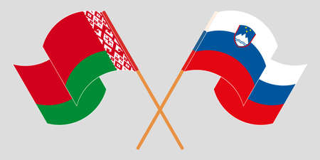Crossed and waving flags of Belarus and Slovenia 向量圖像