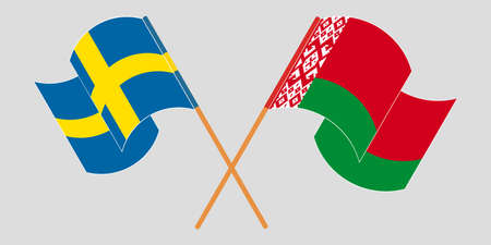 Crossed and waving flags of Belarus and Sweden